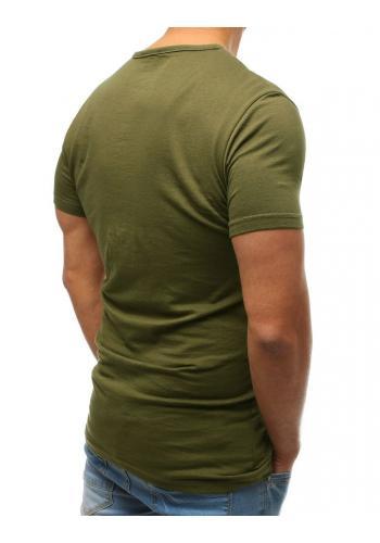 Mátové bavlněné tričko s knoflíky pro pány