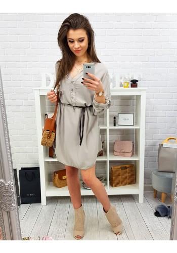 Dámské módní šaty s dlouhým rukávem v hnědé barvě