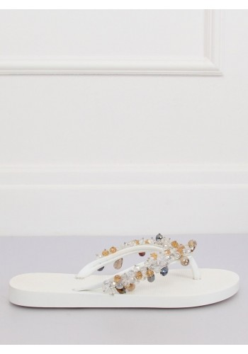 Stříbrné gumové žabky s ozdobnými kameny pro dámy
