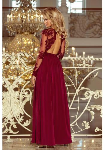 Dámské rozšířené šaty s volány v bordové barvě