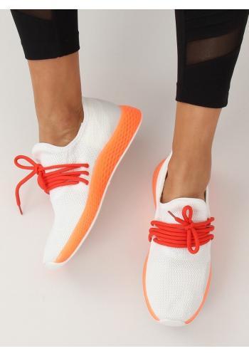 Stylové dámské tenisky bílé barvy s oranžovými prvky