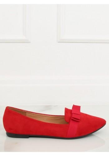 Dámské semišové balerínky s mašlí v červené barvě