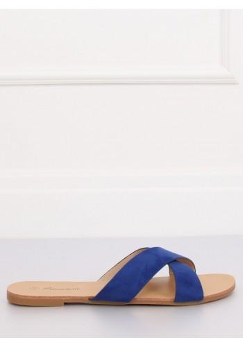 Modré semišové pantofle pro dámy