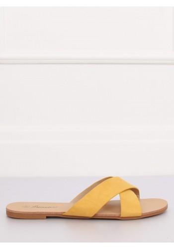 Dámské semišové pantofle ve žluté barvě