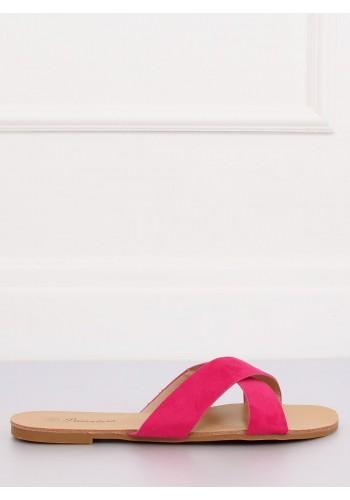 Semišové dámské pantofle růžové barvy