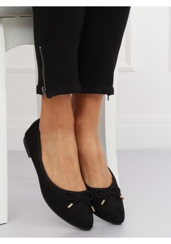 Černé semišové balerínky s mašlí pro dámy
