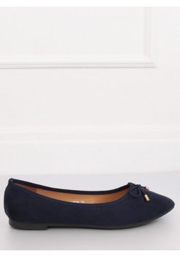 Dámské semišové balerínky s mašlí v tmavě modré barvě