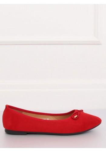 Červené semišové balerínky s mašlí pro dámy