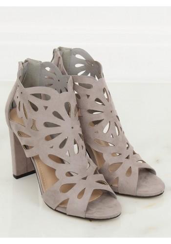 Azurové dámské boty šedé barvy na stabilním podpatku