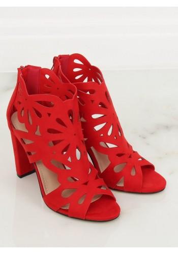 Červené azurový boty na stabilním podpatku pro dámy