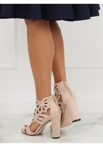 Dámské azurový boty na stabilním podpatku v béžové barvě