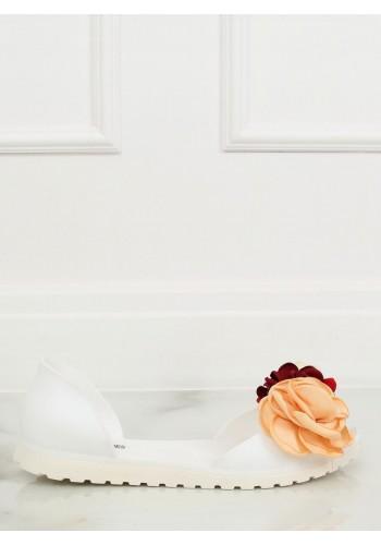 Bílé gumové balerínky s květinami pro dámy