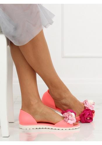 Dámské gumové balerínky s květinami v růžové barvě
