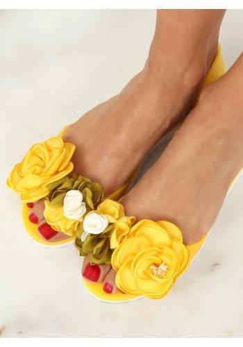 Žluté gumové balerínky s květinami pro dámy