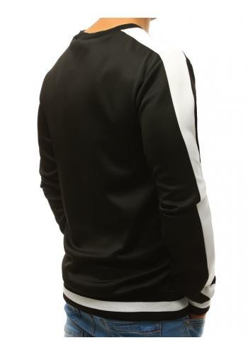 Černá módní mikina s kontrastními pásy na rukávech pro pány