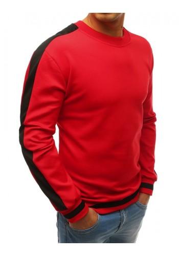 Módní pánská mikina červené barvy s kontrastními pásy na rukávech