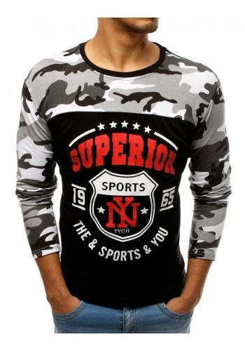 Pánské sportovní tričko s potiskem v černé barvě