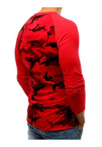 Pánské maskáčové tričko s dlouhým rukávem v červené barvě