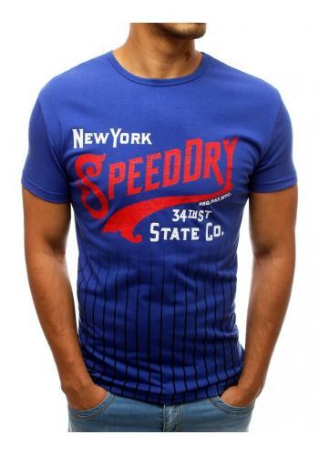 Modré stylové tričko s potiskem pro pány