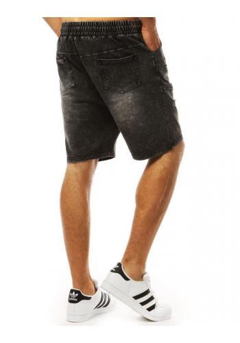 Módní pánské kraťasy černé barvy s riflovým vzhledem