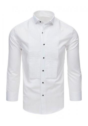 Smokingová pánská košile bílé barvy s plisováním
