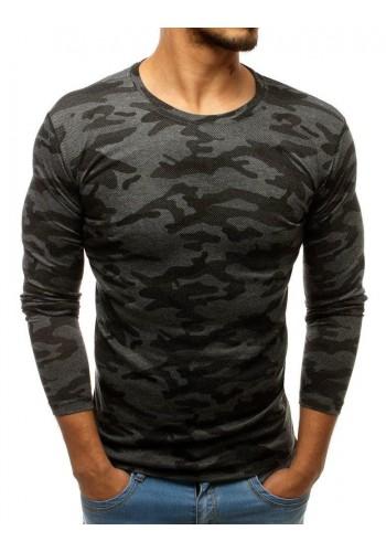Pánské maskáčové tričko s dlouhým rukávem v tmavě šedé barvě
