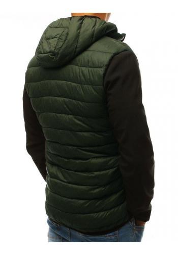 Zelená prošívaná bunda na přechodné období pro pány