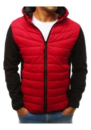 Pánská prošívaná bunda na přechodné období v červené barvě