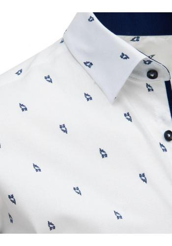 Pánská módní košile s motivem sovy v bílé barvě