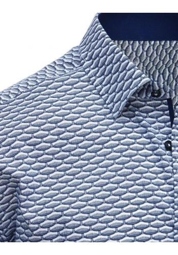 Pánská vzorovaná košile s krátkým rukávem v modro-bílé barvě