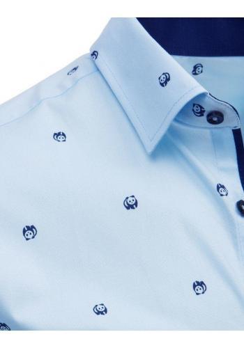 Módní pánská košile světle modré barvy s motivem pandy
