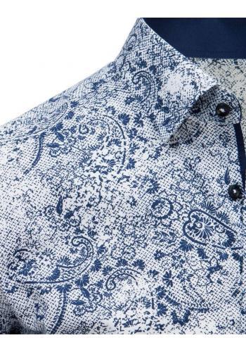 Modro-bílá vzorovaná košile s krátkým rukávem pro pány