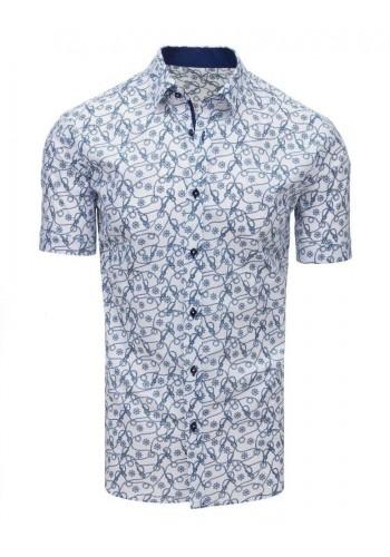 Bílá vzorovaná košile s krátkým rukávem pro pány