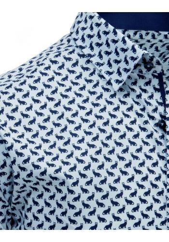 Světle modrá módní košile s motivem koček pro pány