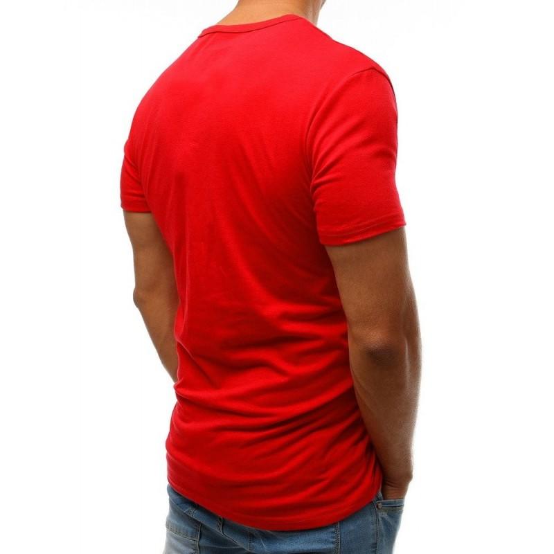 Módní pánské tričko červené barvy s potiskem