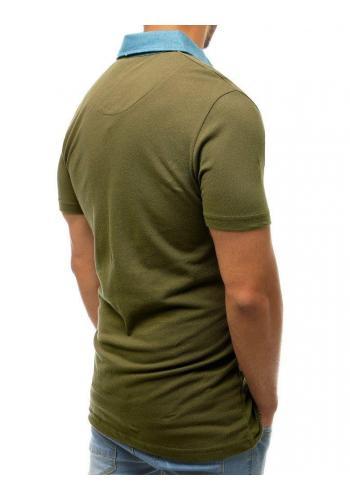 Zelená módní polokošile s kapsou na hrudi pro pány
