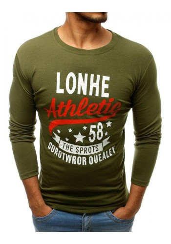 Pánské stylové tričko s potiskem v zelené barvě