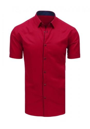 Elegantní pánská košile bordové barvy s krátkým rukávem
