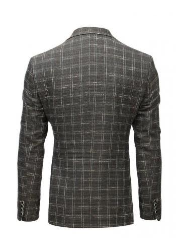 Tmavě šedé neformální sako s kostkovaným vzorem pro pány