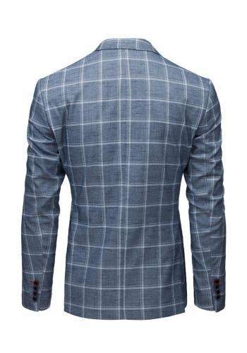 Pánské jednořadé sako s kostkovaným vzorem v modré barvě