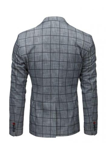 Neformální pánské sako tmavě šedé barvy s kostkovaným vzorem