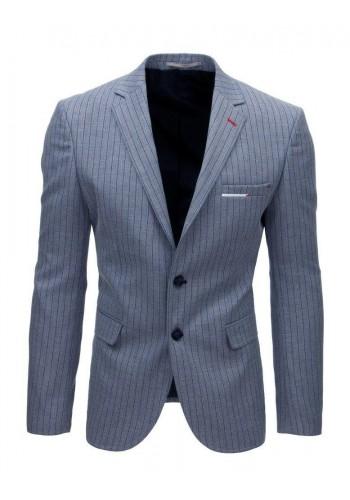Pánské neformální sako s páskovým vzorem v modré barvě