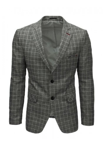 Jednořadé pánské sako šedé barvy s kostkovaným vzorem