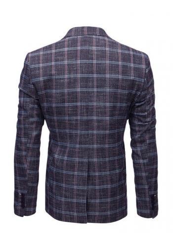 Bordové neformální sako s kostkovaným vzorem pro pány