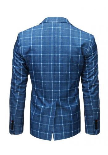 Neformální pánské sako modré barvy s kostkovaným vzorem