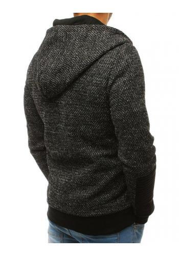Pánská stylová mikina s kapucí v černé barvě