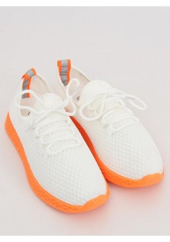 Sportovní dámské tenisky bílo-oranžové barvy se síťkou