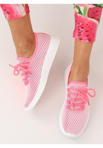 Dámské sportovní tenisky se síťkou v růžové barvě