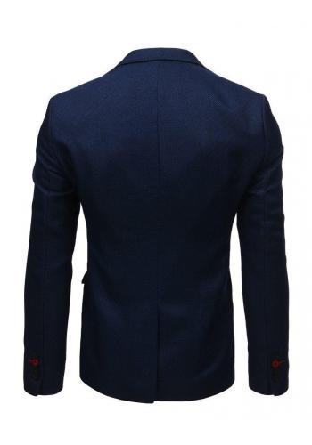 Pánské neformální sako s jedním knoflíkem v modré barvě