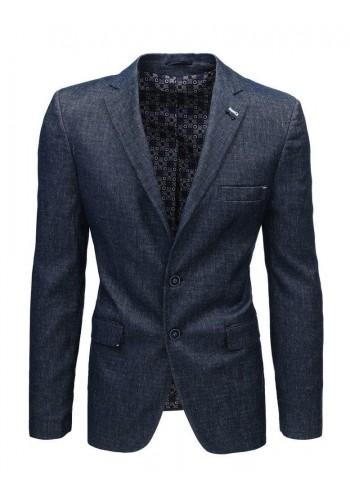 Jednořadé pánské sako tmavě modré barvy se dvěma knoflíky
